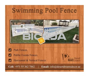 Swimming Pool fences Uae | Events Fences | Picket Fences | Free Standing Fences Uae.