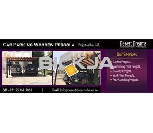 Car Parking Wooden Shades Dubai | Outdoor Wooden Shades | Cars parking Pergola Uae.